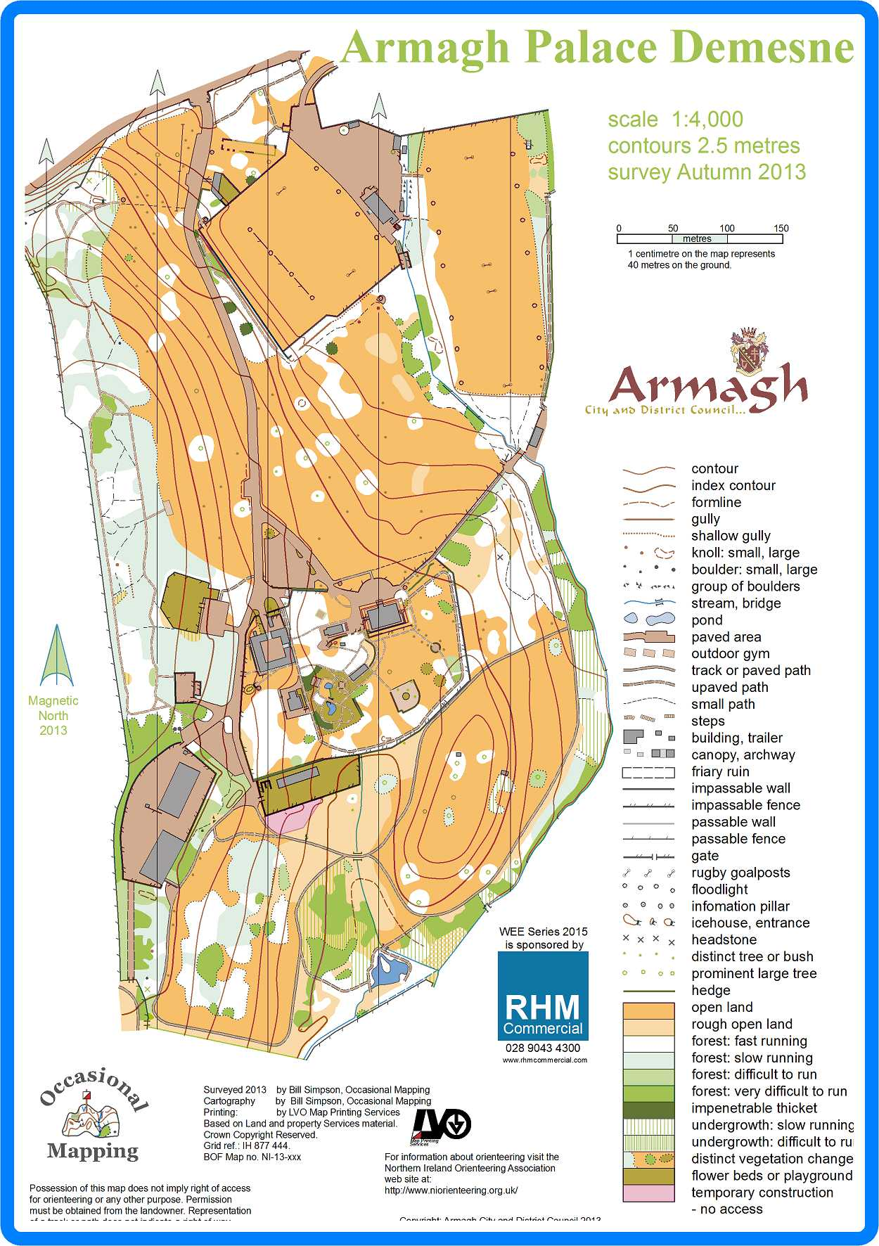 WEE 10 Armagh - August 5th 2015 - Orienteering Map from LVO ... Map Of Armagh City on map of northumberland county pa townships, map of northern ireland, map of county armagh ireland,